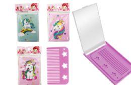 72 Units of Compact Folding Mirror With Brush Unicorn - Novelty Toys