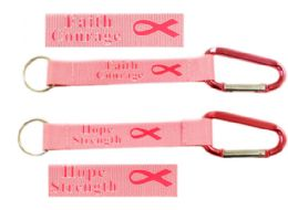 72 Units of Lanyard Carabiner Keychain Pink Ribbon - Tape Measures and Measuring Tools