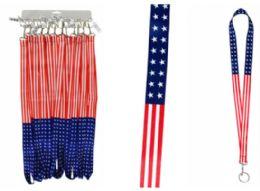 72 Units of Lanyard Keychain USA Flag - Id card