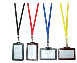 72 Units of Lanyard With Faux Leather ID Holder - Id card