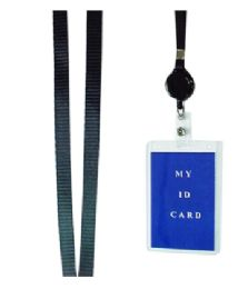 72 Units of Lanyard With Retractable ID Holder Vertical Black - Id card
