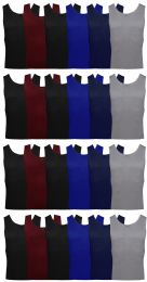 24 Units of Yacht & Smith Mens Ribbed 100% Cotton Tank Top, Assorted Colors, Size Large - Mens T-Shirts