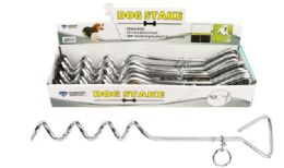 24 Units of Dog Tie Out Chrome Steak 16 inch - Pet Toys