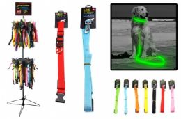 96 Units of LED Lighting Dog Leashes And Collar Assorted Sizes Free Rack - Pet Collars and Leashes