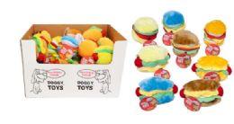 36 Units of Plush Dog Toy Hamburger Hotdog - Pet Toys