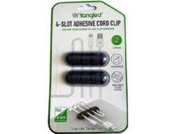 72 Wholesale Untangled 2 Pack Black 4 Slot Adhesive Bar Cord Clip