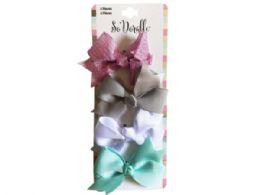 108 Bulk Multi-Color 4 Piece Grosgrain Bows with Satin Knot Nose Clips