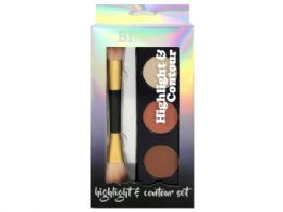 36 Bulk Beauty Intuition Highlight and Contour Palette with Jumbo Makeup Brush