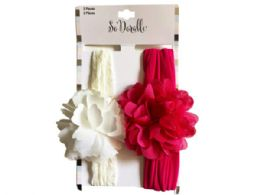 108 Units of Multi-Color 2 Pack Flower Headwraps - Assorted Cosmetics