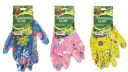 72 Units of Gardening Gloves Floral - Garden Cleanup Aids