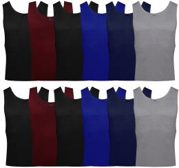 24 Bulk Yacht & Smith Mens Ribbed 100% Cotton Tank Top, Assorted Colors, Size Medium