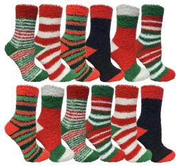 36 Units of Yacht & Smith Christmas Fuzzy Socks , Soft Warm Cozy Socks, Size 9-11 - Womens Holiday Themed Socks