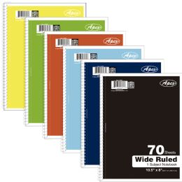48 Wholesale Premium 1 Subject Wide Ruled Notebook, 70 Sheets