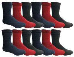 24 Units of Yacht & Smith Womens Wholesale Winter Thermal Crew Socks Size 9-11 - Womens Thermal Socks