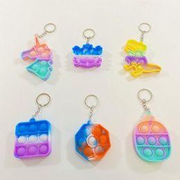 50 Units of Push Pop Fidget Toy Keychain [Tie Dye Assort] - Fidget Spinners