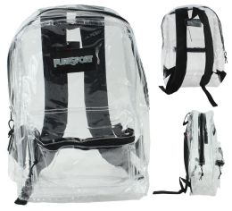 """12 Units of 17"""" Classic Clear Backpacks w/ Front Zipper Pocket - Backpacks 17"""""""