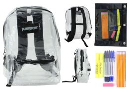 """12 Units of 17"""" Classic Clear Backpack & High School Supply Kit Sets - Backpacks 17"""""""