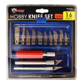24 Units of Hobby Knife Set In Case 16 Pieces - Box Cutters and Blades
