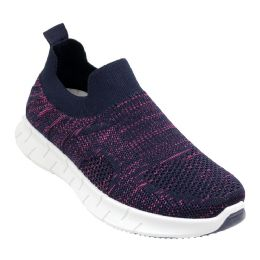 12 Units of Women's Fashion Sneakers In Navy And Pink - Women's Sneakers