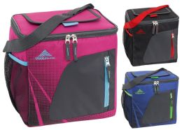 12 Units of 24-Can Insulated Coolers w/ Mesh Pocket - Assorted Colors - Lunch Bags & Accessories