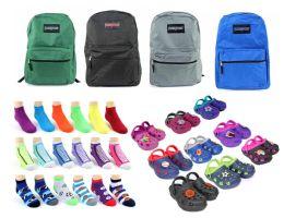 "216 Bulk Toddler Back-to-School Bundle - 216 Items - 15"" Classic Backpacks, Clogs, & Graphic Socks!"