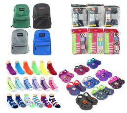 "288 Bulk Toddler Back-to-School Bundle - 288 Items - 15"" Classic Backpacks, Clogs, Underwear, & Graphic Socks!"