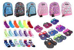 "216 Bulk Toddler Back-to-School Bundle - 216 Items - 14"" Graphic Backpacks, Clogs, & Graphic Socks!"