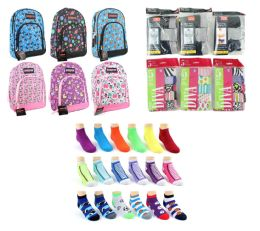"216 Bulk Toddler Back-to-School Bundle - 216 Items - 14"" Graphic Backpacks, Underwear, & Graphic Socks!"