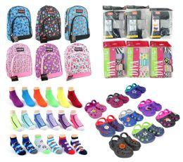 "288 Bulk Toddler Back-to-School Bundle - 288 Items - 14"" Graphic Backpacks, Clogs, Underwear, & Graphic Socks!"