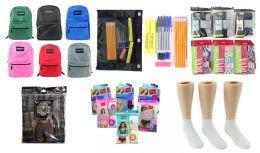 "288 Bulk Middle School Back-to-School Bundle - 288 Items - 17"" Classic Backpacks, Supply Kits, Underwear, & Athletic Ankle Socks!"