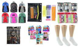 "288 Bulk Middle School Back-to-School Bundle - 288 Items - 17"" Bungee Backpacks, Supply Kits, Underwear, & Athletic Ankle Socks!"
