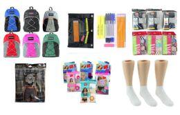 """288 Bulk High School Back-to-School Bundle - 288 Items - 17"""" Bungee Backpacks, Supply Kits, Underwear, & Athletic Ankle Socks!"""
