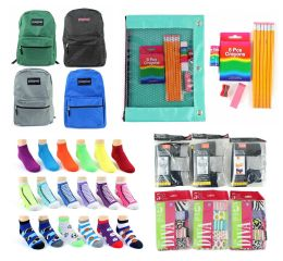"288 Bulk Elementary School Back-to-School Bundle - 288 Items - 15"" Classic Backpacks, Supply Kits, Underwear, & Graphic Socks!"