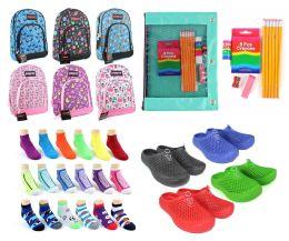 "288 Bulk Elementary School Back-to-School Bundle - 288 Items - 14"" Graphic Backpacks, Supply Kits, Clogs, & Graphic Socks!"