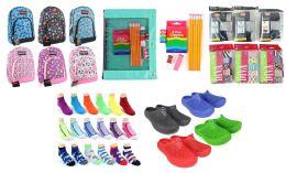 "360 Bulk Elementary School Back-to-School Bundle - 360 Items - 14"" Graphic Backpacks, Supply Kits, Clogs, Underwear, & Graphic Socks!"