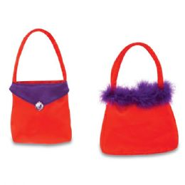 """72 Wholesale 6"""" Valentine's Day Purses w/ Embroidered Gem & Faux Fur"""