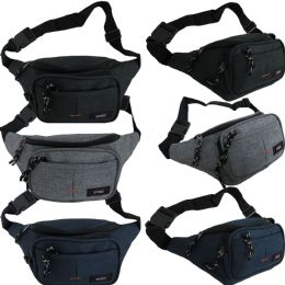 48 Units of Men & Women's Heathered Canvas Fanny Packs w/ Adjustable Waist Strap - Fanny Pack