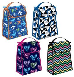 """24 Units of 10"""" Printed Insulated Lunch Bags - Assorted Prints - Lunch Bags & Accessories"""