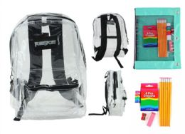 """12 Bulk 17"""" Classic Clear Backpack & Elementary School Supply Kit Sets"""