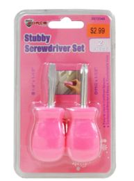 48 Units of Pink Stubby Screwdrivers 2 Piece - Screwdrivers and Sets