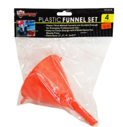 48 Units of Plastic Funnel Set 4 Piece - Strainers & Funnels