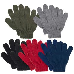 100 Units of Children Knitted Gloves - 5 Assorted Colors - Knitted Stretch Gloves