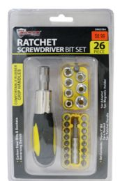 18 Units of Ratchet Screwdriver And Bit Socket Set 26 Piece - Ratchets