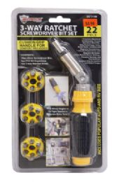 18 Units of Ratchet Screwdriver With Bits 22 Piece - Ratchets