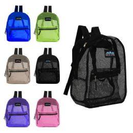 "24 Units of 17"" Mesh Backpacks Assorted Colors - Backpacks 17"""