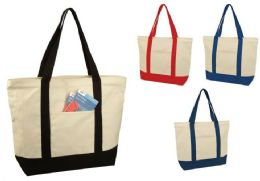 """24 Units of 22"""" Deluxe Cotton Canvas Tote Bags - Tote Bags & Slings"""