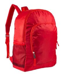 "24 Units of 17"" Sport Bulk Backpacks with Side Mesh Water Bottle Pockets in Red - Backpacks 17"""