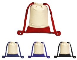 48 Units of Cape Cod Cotton Drawstring Backpacks - Backpacks