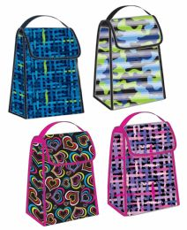 24 Units of Foldable Lunch Bags w/ Handle - Assorted Designs - Lunch Bags & Accessories