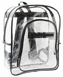 """24 Units of 17"""" Clear Backpacks w/ Front Zipper Pockets - Black Only - Backpacks"""